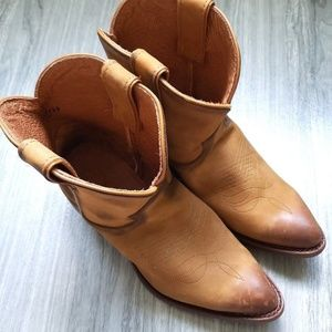 New Frye Bill Short Leather Cognac Antique Boots 8